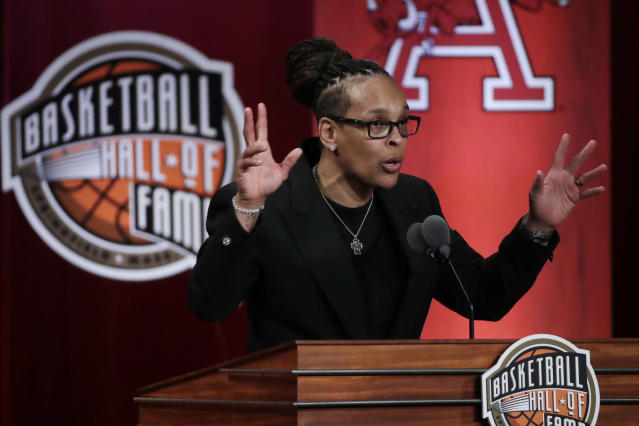 Inductee Teresa Weatherspoon speaks at the Basketball Hall of Fame enshrinement ceremony Friday, Sept. 6, 2019, in Springfield, Mass. (AP Photo/Elise Amendola)