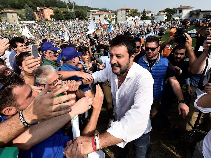League party leader Matteo Salvini greets supporters during a packed rally in Pontida, Italy on 15 September: Reuters/Flavio Lo Scalzo