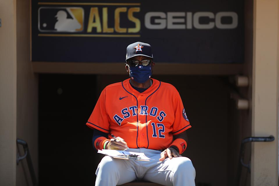 SAN DIEGO, CA - OCTOBER 12: Manager Dusty Baker #12 of the Houston Astros is seen in the dugout prior to Game 2 of the ALCS between the Tampa Bay Rays and the Houston Astros at Petco Park on Monday, October 12, 2020 in San Diego, California. (Photo by Alex Trautwig/MLB Photos via Getty Images)