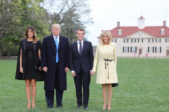 The Trumps and Macrons at George Washington's ancestral home Mount Vernon in Virginia on 23 April 2018 (Ludovic Marin/AFP/Getty)