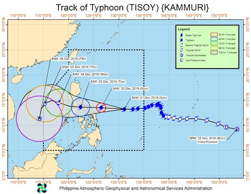 Bicol, Eastern Visayas warned of flooding due to Typhoon Tisoy