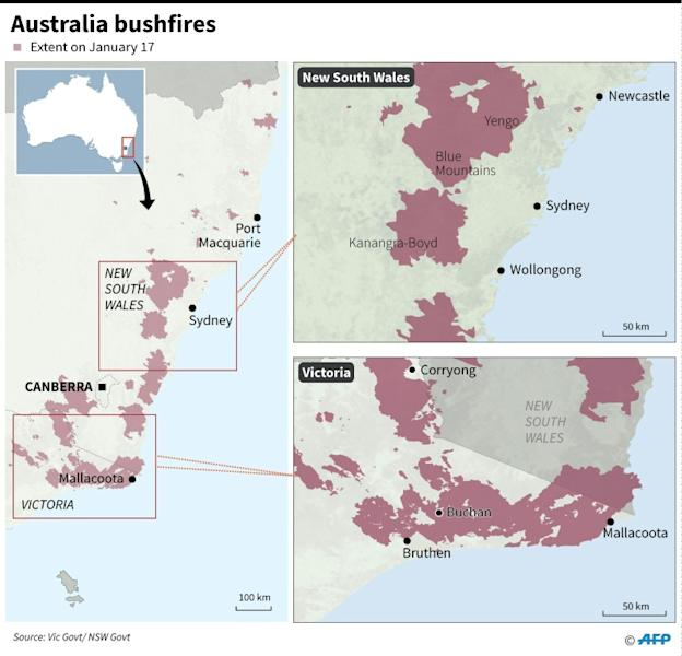 Maps showing the extent of bushfires in Australia's Victoria and New South Wales states on January 17. (AFP Photo/John SAEKI)