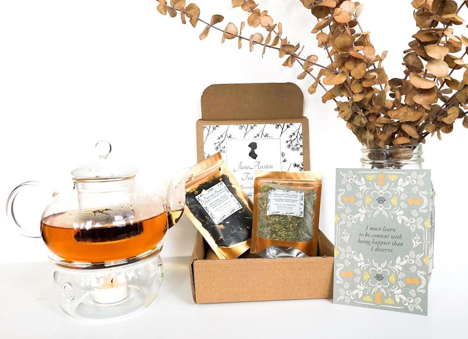 <p>Books and tea go together perfectly, and this <span>Jane Austen Tea Gift Box</span> ($27) is a gift they'll obsess over.</p>