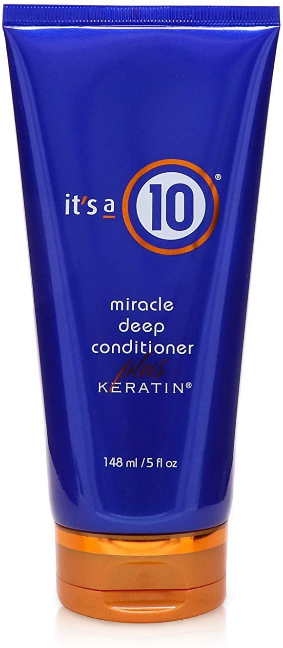 """<h3>It's A 10 Miracle Deep Conditioner Plus Keratin</h3><br><br>This deep conditioning treatment works """"miracles"""" on damaged hair, helps reduce frizz, and helps to prevent heat damage.<br><br><strong>It's a 10</strong> Miracle Deep Conditioner Plus Keratin, $, available at <a href=""""https://amzn.to/3nsM6Gw"""" rel=""""nofollow noopener"""" target=""""_blank"""" data-ylk=""""slk:Amazon"""" class=""""link rapid-noclick-resp"""">Amazon</a>"""