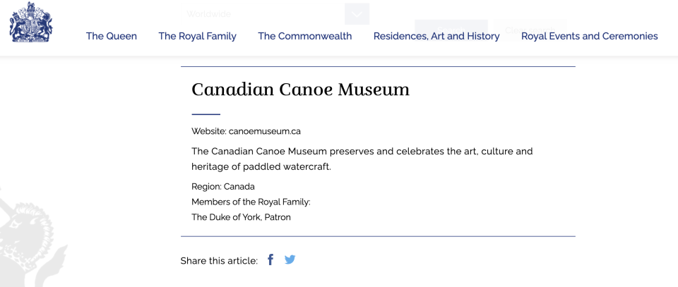 The Canadian Canoe Museum distanced itself from the Duke of York. (Royal.uk)