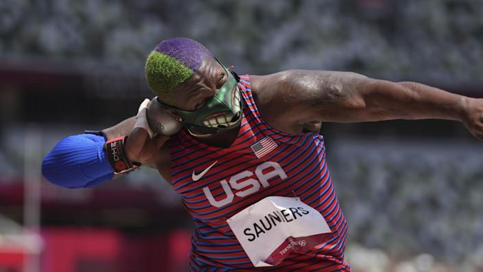 Raven Saunders competes in the final of the women's shot put on Sunday.