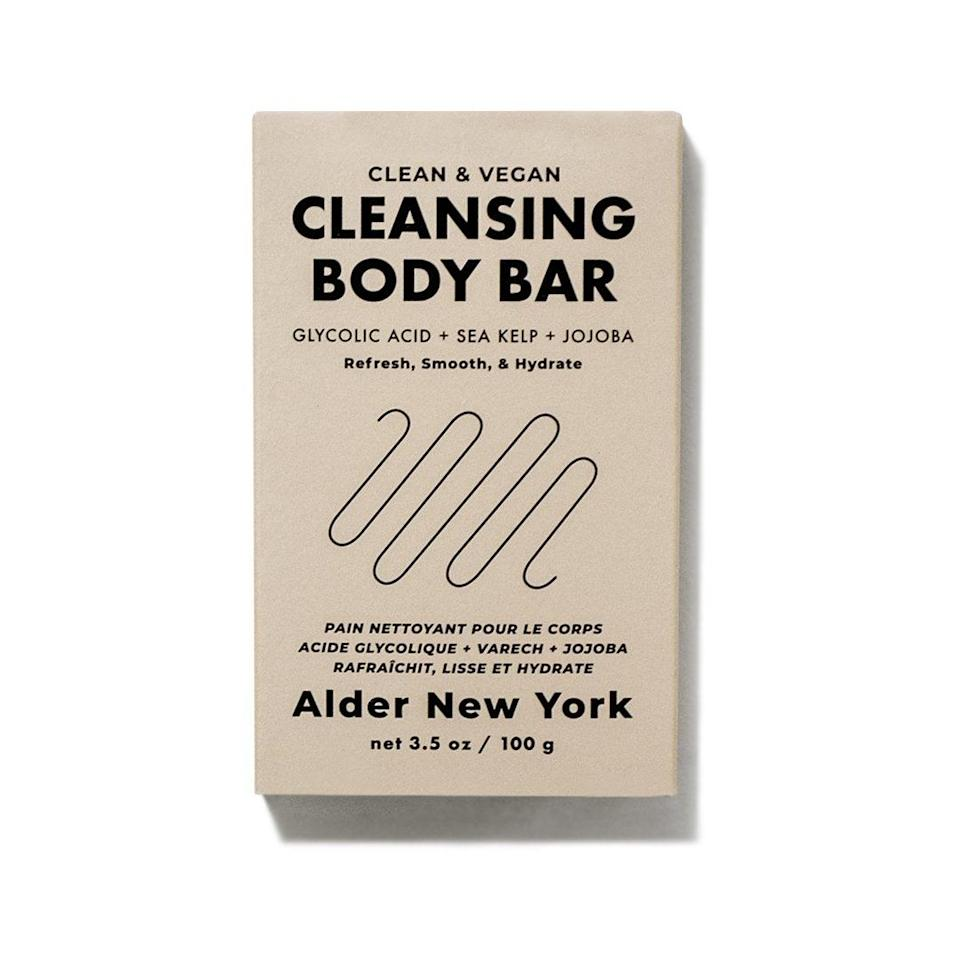 """<h2>Alder New York</h2><br>""""We're a queer and woman-owned independent skincare brand that makes products designed to work for all skin types, no matter your age, gender, or ethnicity."""" <em>– <a href=""""https://aldernewyork.com/pages/about-us"""" rel=""""nofollow noopener"""" target=""""_blank"""" data-ylk=""""slk:Alder New York"""" class=""""link rapid-noclick-resp"""">Alder New York</a></em><a href=""""https://aldernewyork.com/pages/about-us"""" rel=""""nofollow noopener"""" target=""""_blank"""" data-ylk=""""slk:Website"""" class=""""link rapid-noclick-resp""""> <em>Website</em></a> <br><br>This clean skin and body care brand prides itself on its dermatologist-approved ingredients and high-performing formulas. The purpose is to make caring for your skin simple. For Pride Month, they're donating 10% of the sales from their <a href=""""https://aldernewyork.com/products/cooling-mineral-hydro-mist-pride-limited-edition"""" rel=""""nofollow noopener"""" target=""""_blank"""" data-ylk=""""slk:limited edition Cooling Mineral Hydro Mist"""" class=""""link rapid-noclick-resp"""">limited edition Cooling Mineral Hydro Mist</a> to the <a href=""""https://www.aliforneycenter.org/"""" rel=""""nofollow noopener"""" target=""""_blank"""" data-ylk=""""slk:Ali Forney Center"""" class=""""link rapid-noclick-resp"""">Ali Forney Center</a>, whose focus is to protect LGBTQ youths homelessness in NYC. <br><br><strong>Shop <em><a href=""""https://aldernewyork.com"""" rel=""""nofollow noopener"""" target=""""_blank"""" data-ylk=""""slk:Alder New York"""" class=""""link rapid-noclick-resp"""">Alder New York</a></em></strong><br><br><strong>Alder New York</strong> Cleansing Body Bar, $, available at <a href=""""https://go.skimresources.com/?id=30283X879131&url=https%3A%2F%2Faldernewyork.com%2Fproducts%2Fcleansing-body-bar"""" rel=""""nofollow noopener"""" target=""""_blank"""" data-ylk=""""slk:Alder New York"""" class=""""link rapid-noclick-resp"""">Alder New York</a>"""
