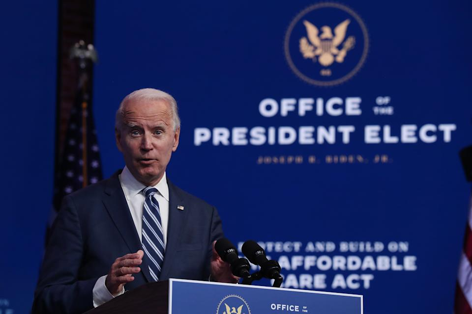 President-elect Joe Biden addresses the media about the Trump Administration's lawsuit to overturn the Affordable Care Act. (Joe Raedle/Getty Images)