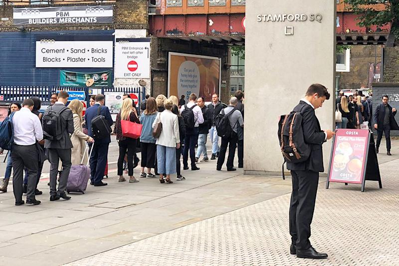 Queues at East Putney station. (Tim Rye/PA)