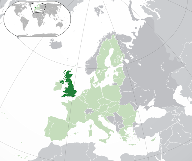 The United Kingdom (dark green) and the European Union (light green).