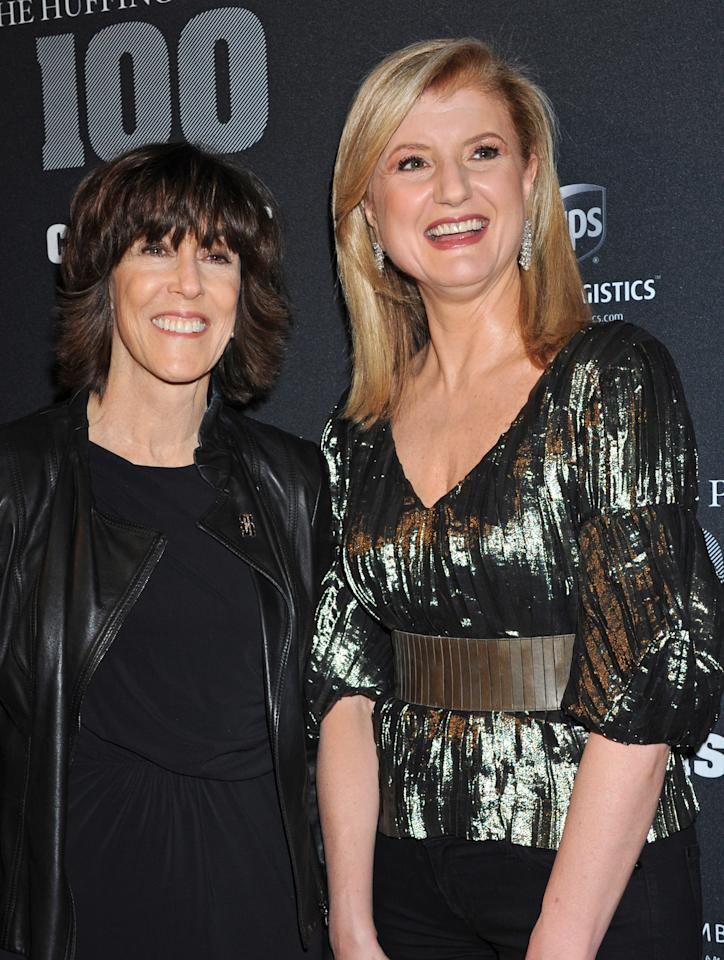 """Author Nora Ephron, left, and Arianna Huffington arrive at the """"Huffington Post 2010 Game Changers Event"""", Thursday, Oct. 28, 2010, in New York."""