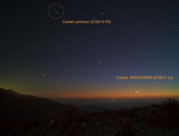 Yuri Beletsky, a Magellan Instrument Support Scientist at Las Campanas observatory located in Atacama Desert in Chile, used a Canon 5D Mark II camera with an exposure time of ~ 30 seconds on Feb. 28, 2013 to capture this image of Comets Pan-STA