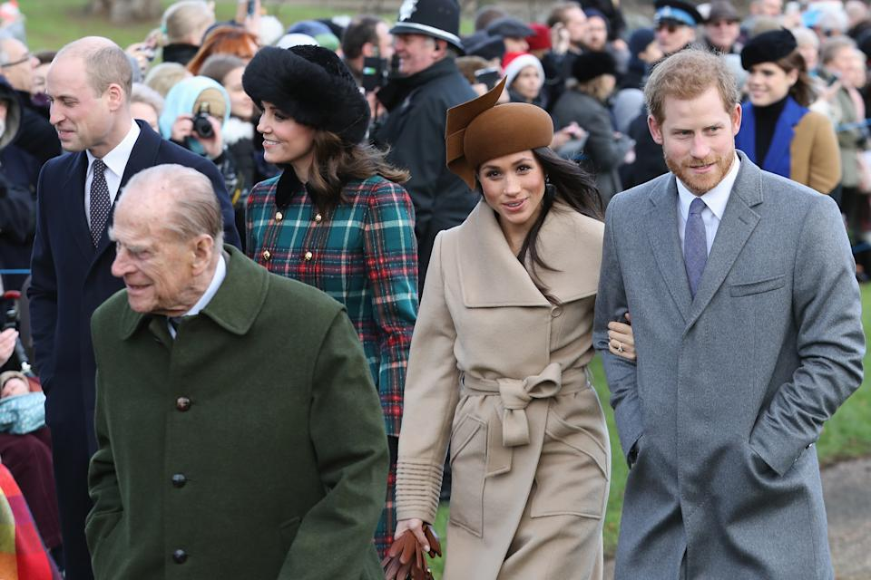 Meghan Markle Prince Harry and Prince Philip attend Christmas Day Church service at Church of St Mary Magdalene on December 25, 2017 in King's Lynn, England.