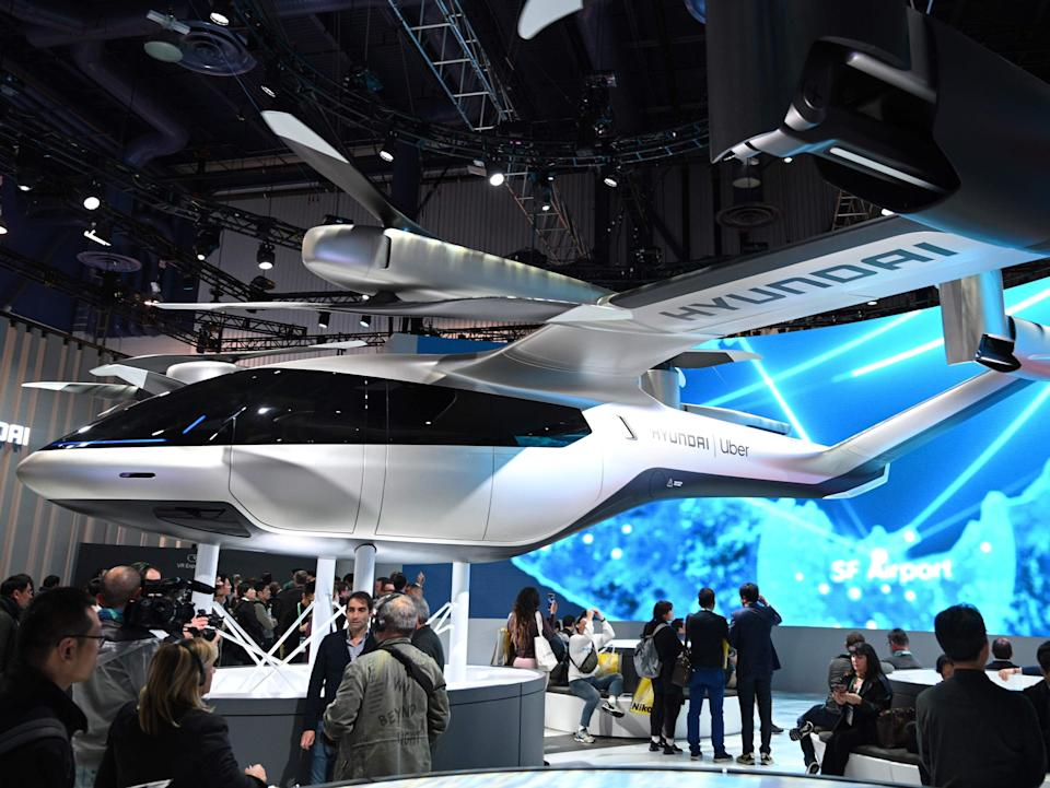 The Hyundai S-A1 electric Urban Air Mobility concept is displayed at the 2020 Consumer Electronics Show in Las Vegas (Robyn Beck/AFP via Getty Images)