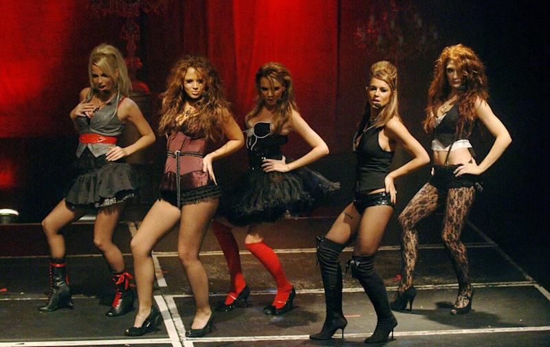 (L-R) Sarah, Kimberley, Nadine, Cheryl and Nicola from Girls Aloud performing onstage at G.A.Y from the Astoria, central London, during a concert to launch their new album 'Chemistry', Saturday December 3 2005. PRESS ASSOCIATION Photo. Photo credit should read: Steve Parsons/PA