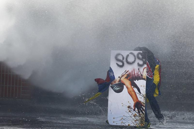 Protester water cannon