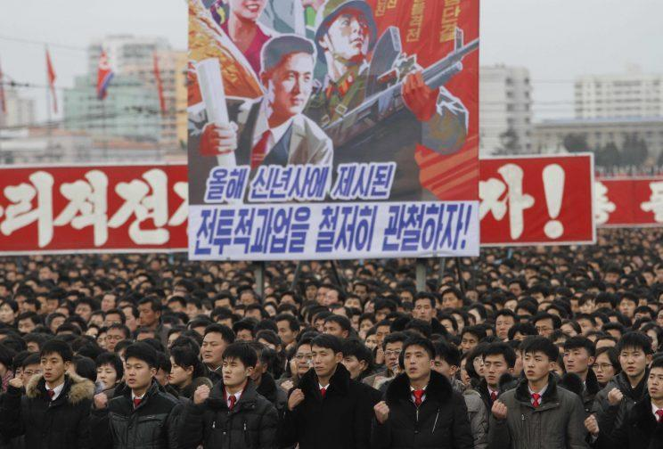 North Koreans taking part in a government rally (Rex)