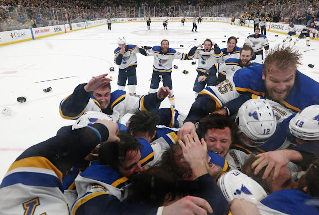 The St. Louis Blues celebrate after defeating the Boston Bruins in Game Seven to win the 2019 NHL Stanley Cup Final at TD Garden on June 12, 2019 in Boston, Massachusetts. (Photo by Bruce Bennett/Getty Images)