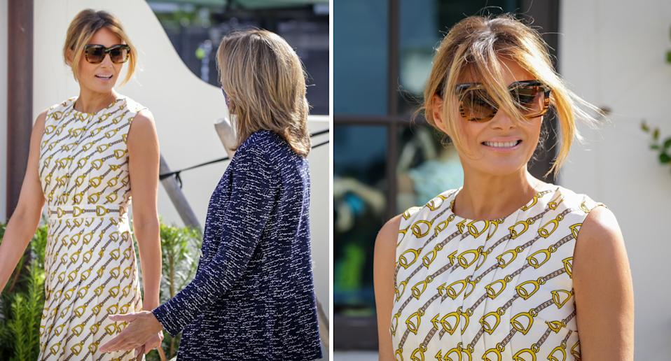 Melania Trump not wearing a face mask while voting in Florida.