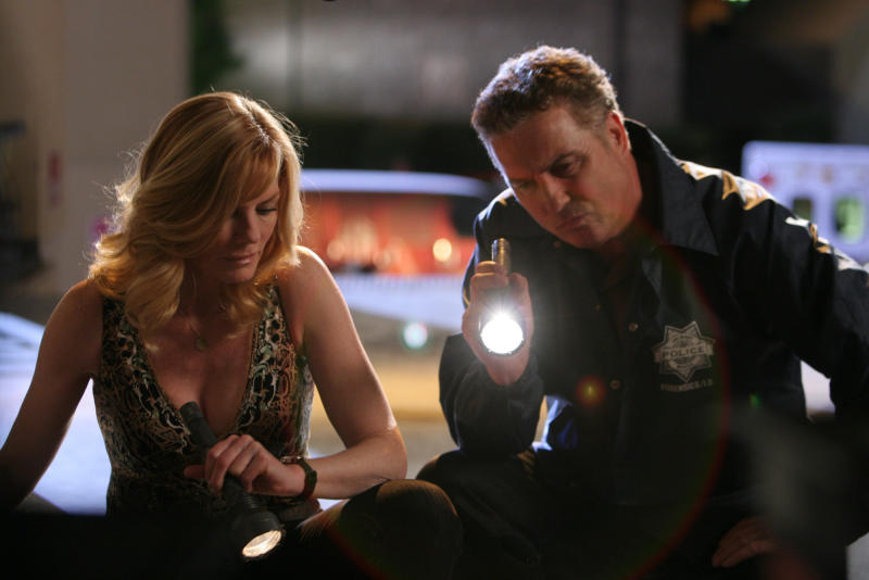 "LAS VEGAS - AUGUST 14: ""Built to Kill, Part 1"" -- Grissom (William Petersen) and Catherine (Marg Helgenberger) investigate the murder of an aspiring dancer killed backstage at Cirque du Soleil, on part one of the two part seventh season premiere of CSI: CRIME SCENE INVESTIGATION, Thursday September 17 (9:00-10:00 PM, ET/PT) on the CBS Television Network. (Photo by Robert Voets/CBS Photo Archive via Getty Images)"