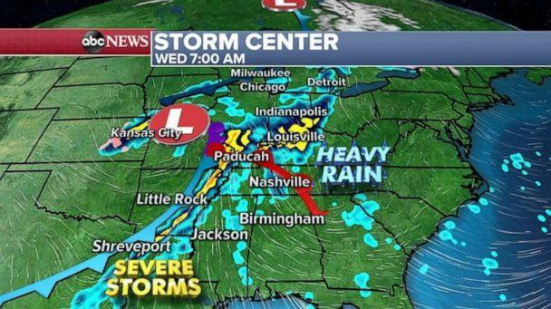 PHOTO: By Wednesday morning as the storm moves east, some of those strong to severe storms will move through parts of Louisiana up through parts of Indiana and Kentucky. (ABC News)