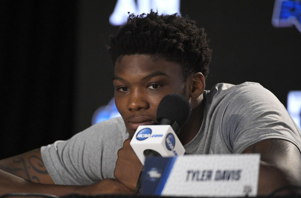Texas A&M forward Robert Williams listens to questions during a news conference at the NCAA men's college basketball tournament, Wednesday, March 21, 2018, in Los Angeles. Texas A&M plays Michigan in a regional semifinal on Thursday. (AP Photo/Mark J. Terrill)