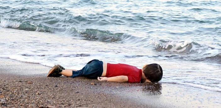 The lifeless body of three-year-old Aylan Kurdi, found on a Turkish beach, became the symbol of the refugee crisis (AFP Photo/)