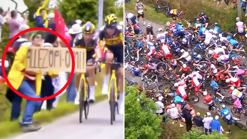 Seen here, the 2021 Tour de France crash caused by a sign-holding spectator.