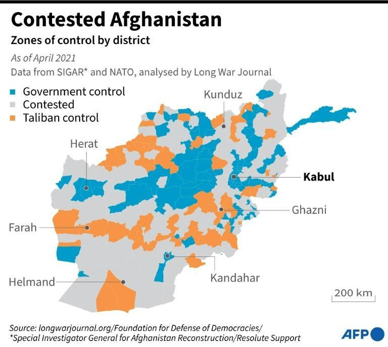 Map showing parts of Afghanistan currently under government control and territories under the influence of the Taliban.