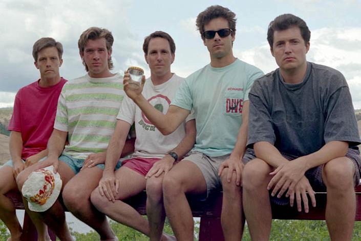 """1992: And, every five years, there are subtle changes. Their hair and clothes reflect a change in fashion trends and, perhaps, a change in age. They're all in T-shirts now. """"It was cold and cloudy. From that point on, we didn't have tans like we did early on,"""" Dickson told the Santa Barbara News-Press. """"And,"""" Wardlaw added, """"we were flabby."""" (Courtesy of John Wardlaw)"""