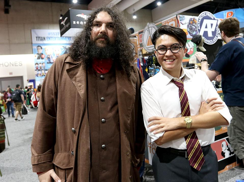 <p>Cosplayers dressed as Hagrid and Harry Potter from <i>Harry Potter</i> at Comic-Con International on July 21, 2018, in San Diego.(Photo: Angela Kim/Yahoo Entertainment) </p>