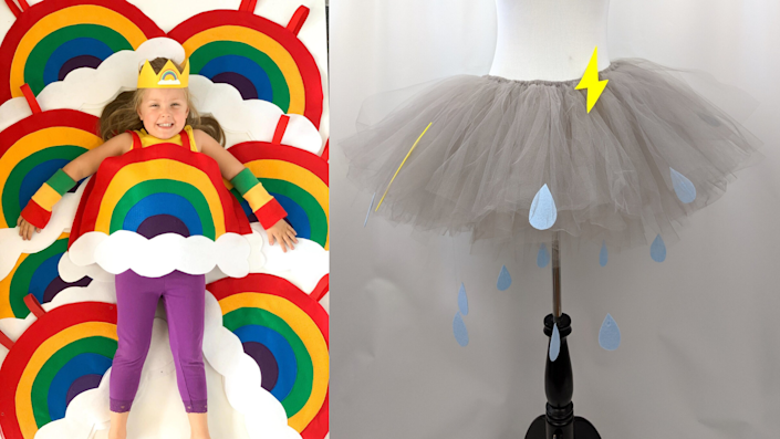 Sibling Halloween costumes: Rainbow and a cloud