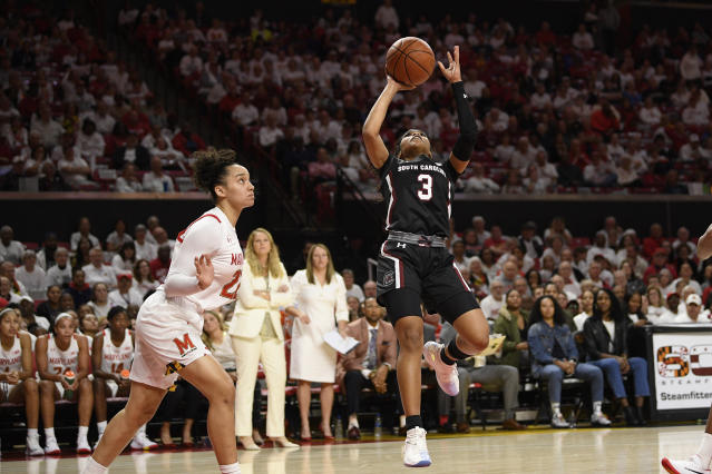 South Carolina guard Destanni Henderson (3) shoots next to Maryland guard Blair Watson, left, during the first half of an NCAA college basketball game, Sunday, Nov. 10, 2019, in College Park, Md. (AP Photo/Nick Wass)