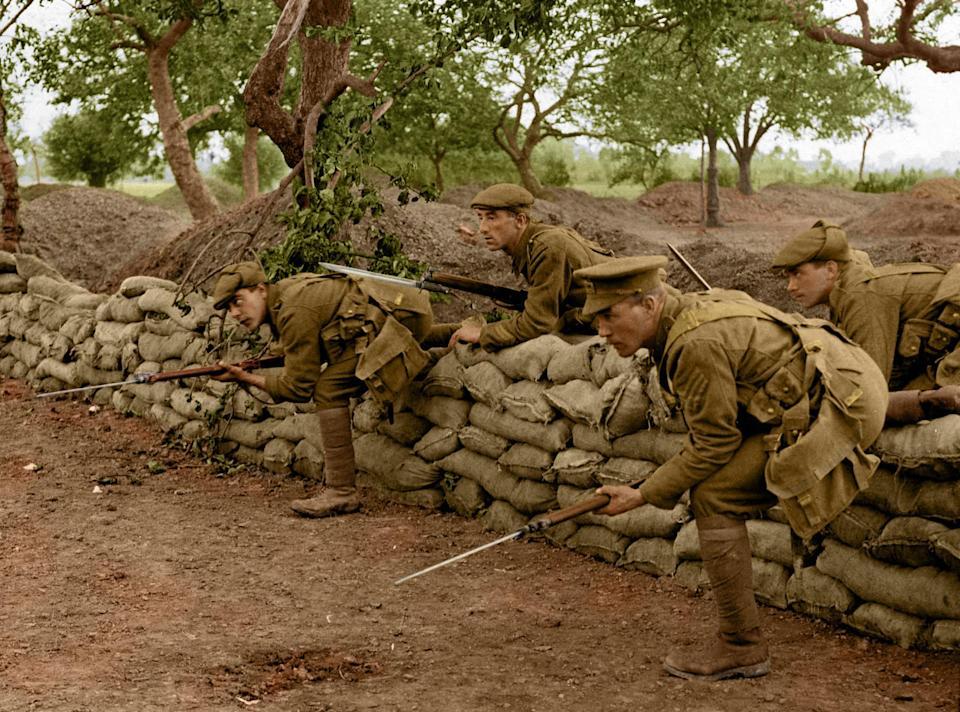 <p>A listening post leaving the trench, most likely a staged photo. (Tom Marshall/mediadrumworld.com) </p>