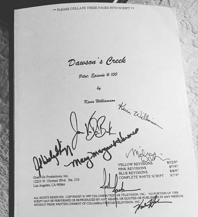 "<p>""I am so grateful that 20 years ago we premiered Dawson's Creek,"" the actress wrote, showing off an autographed script from the show's 100th episode. ""I am so honored to have been a part of it such wonderful memories. Such wonderful friends. Such incredible fans. Thank you all!"" (Photo: <a href=""https://www.instagram.com/p/BeOvqVRhmno/?taken-by=katieholmes212"" rel=""nofollow noopener"" target=""_blank"" data-ylk=""slk:Katie Holmes via Instagram"" class=""link rapid-noclick-resp"">Katie Holmes via Instagram</a>) </p>"