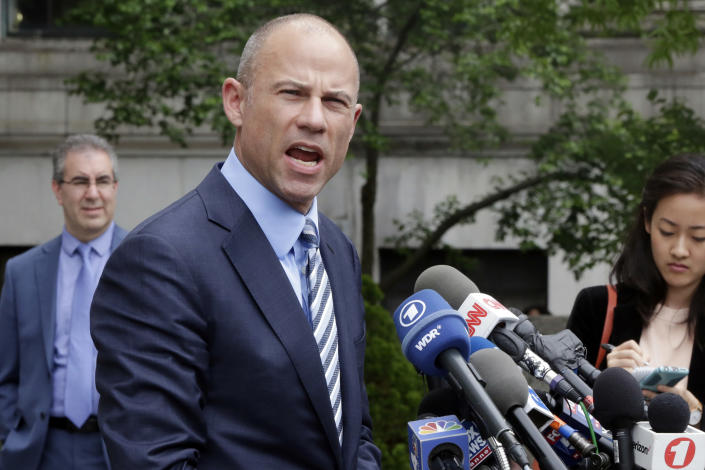 Michael Avenatti talks to the media after Wednesday's court hearing. (Photo: Richard Drew/AP)
