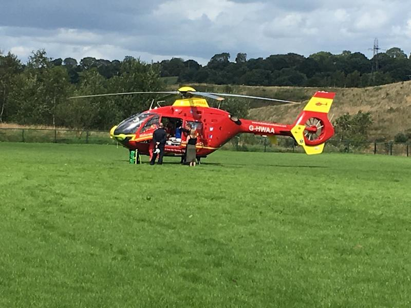 Airlifted: A boy was taken by helicopter to hospital after being impaled through the neck by a training pole while playing football with his friends