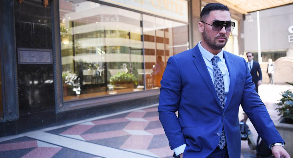 Salim Mehajer arrives at the Downing Centre District Court in Sydney, August 13, 2020.