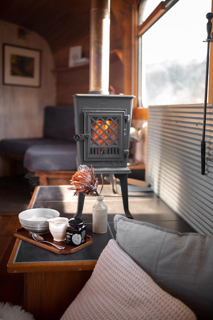 One of The Bus Hideaway's amenities is the fire pit that Airbnb renters can use.