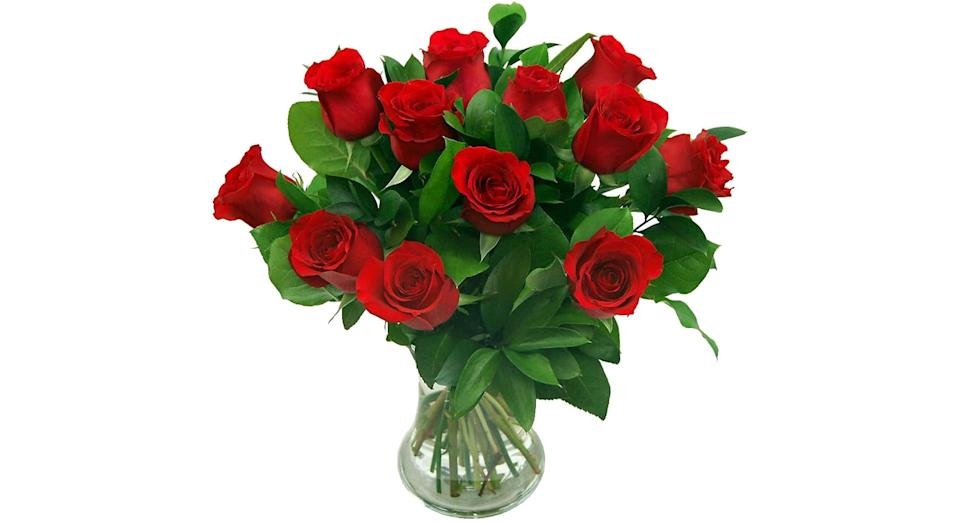 Clare Florist 12 Red Roses True Romance Fresh Flower Bouquet