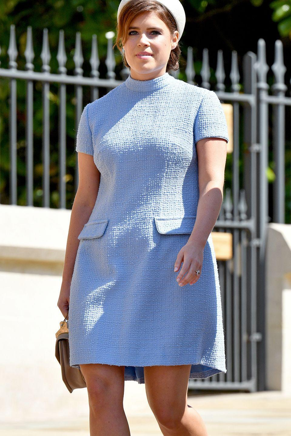<p>Princess Eugenie was guilty as charged when she arrived to Prince Harry and Meghan's wedding wearing an above-the-knee hemline. </p>