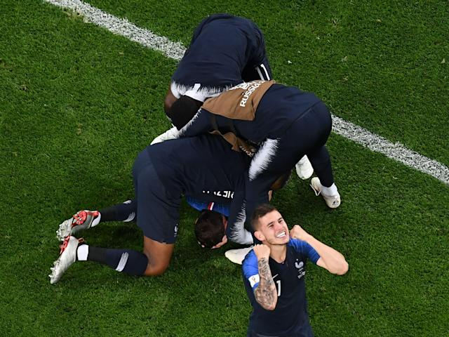 <p>France's team players celebrate after winning at the end of the Russia 2018 World Cup semi-final football match between France and Belgium at the Saint Petersburg Stadium in Saint Petersburg on July 10, 2018. (Photo by Jewel SAMAD / AFP) </p>