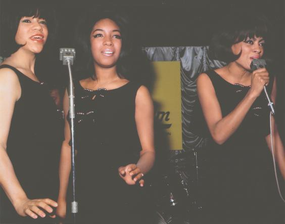 Flo, Diane and Mary sing their hits as the Motortown Revue arrives in London in 1965 (Mary Wilson Collection)