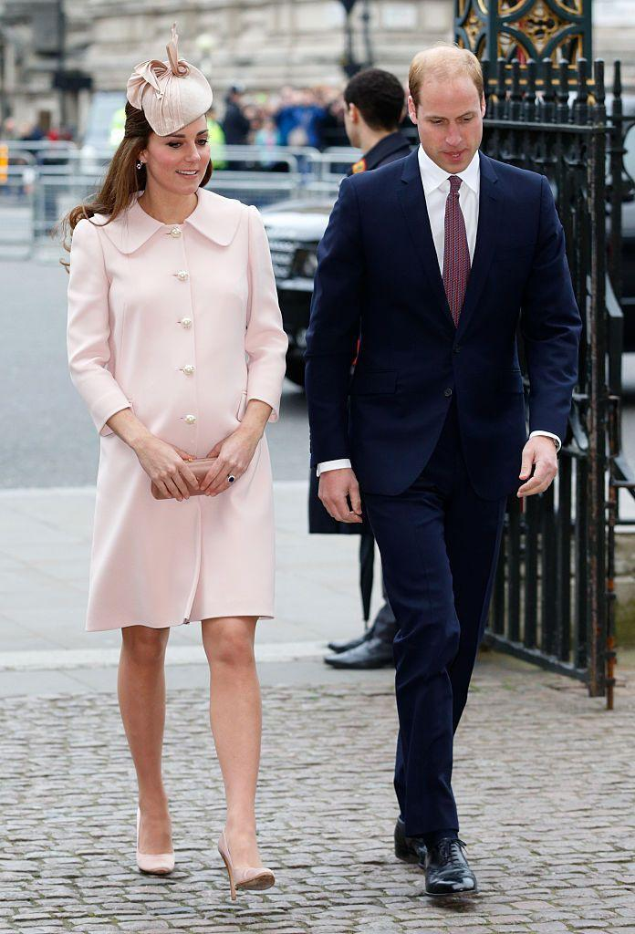 <p>While pregnant, the Duchess once again opted for pink McQueen, sporting this coat to the Commonwealth Observance Service at Westminster Abbey. </p>