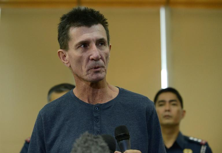 Australian Warren Rodwell gives a statement as he arrives at Manila International Airport on March 25, 2013, after being released by his Islamic militant kidnappers