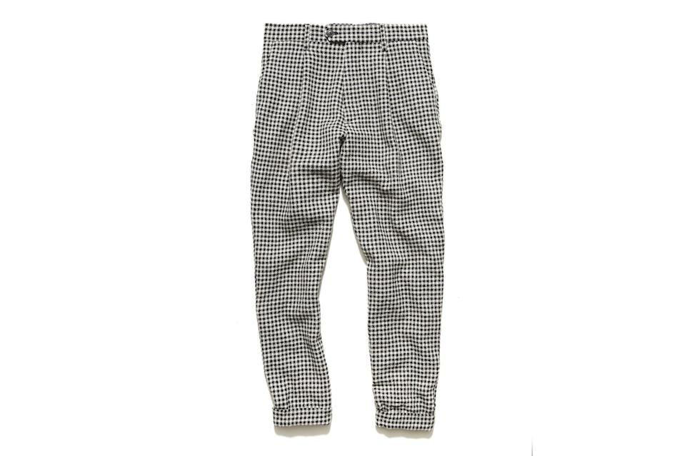 """When your dressy pants are this good—roomy and comfortable, statement-making but versatile—there's no sense in saving them for special occasions. Wear them all the time, with anything, the way you would your jeans.<br> <br> <em>Todd Snyder houndstooth wool pleated pant</em> $268, Todd Snyder. <a href=""""https://www.toddsnyder.com/products/cream-black-houndstooth-wool-pleated-pant-cream?variant=32451381887047"""" rel=""""nofollow noopener"""" target=""""_blank"""" data-ylk=""""slk:Get it now!"""" class=""""link rapid-noclick-resp"""">Get it now!</a>"""