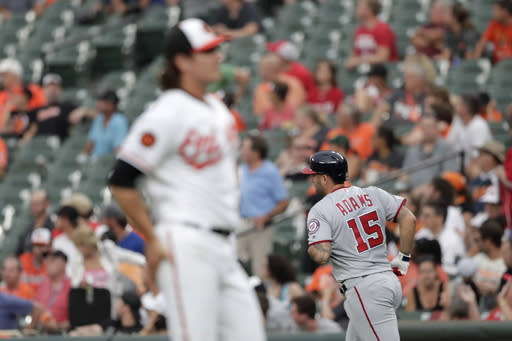 Washington Nationals' Matt Adams (15) runs the bases after hitting a solo home run off Baltimore Orioles starting pitcher Asher Wojciechowski, foreground, during the second inning of a baseball game, Tuesday, July 16, 2019, in Baltimore. (AP Photo/Julio Cortez)