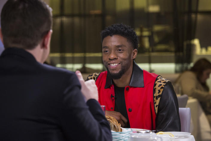 Chadwick Boseman filming his Sunday Sitdown in March 2018. (Mike Smith / TODAY)