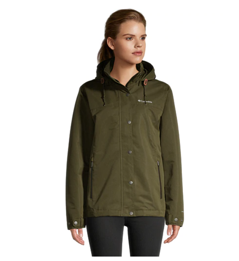 Columbia Women's Preston Hollow Hooded Rain Jacket. Image via Sport Chek.