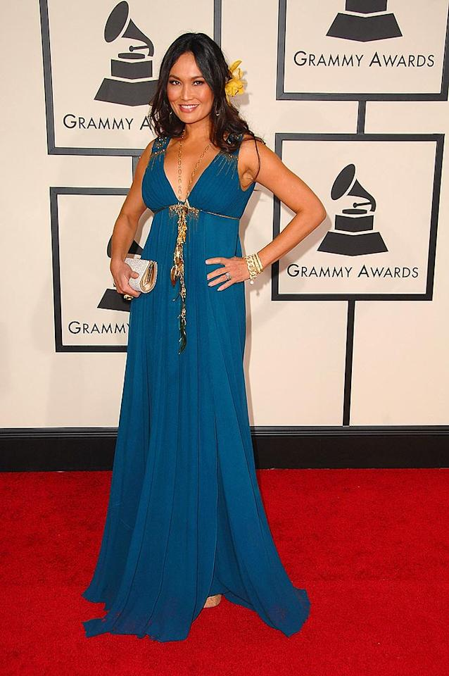 "In her aqua gown, the lovely Tia Carrere brought a touch of the tropics to L.A. The singer/actress got in touch with her Hawaiian roots when she recorded ""Hawaiiana,"" which was nominated for Best Hawaiian Music Album. Steve Granitz/<a href=""http://www.wireimage.com"" target=""new"">WireImage.com</a> - February 10, 2008"
